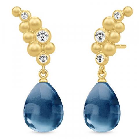 Elegant julie sandlau øredobber i sølv med 22 karat forgylling blå krystaller hvite zirkoner