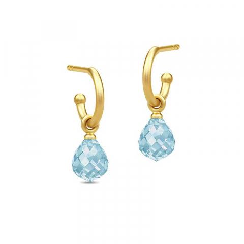 Julie Sandlau dråpe krystall halvcreol i forgylt sølv blå krystaller